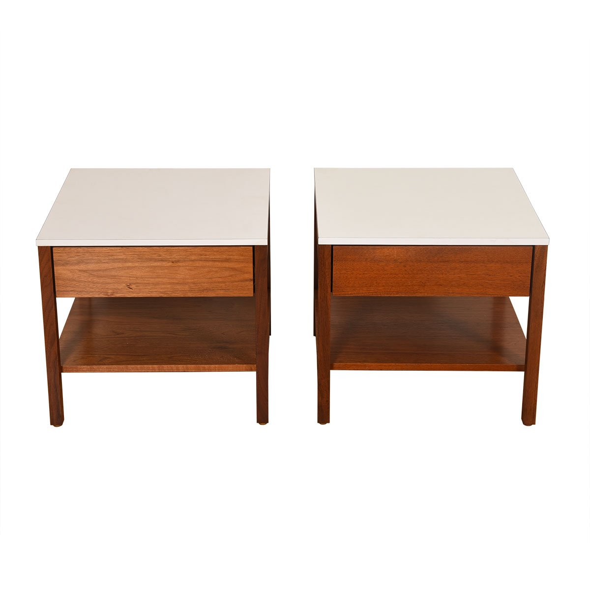 Pair of Mid Century Walnut White Top Nightstands / Side Tables by Knoll.