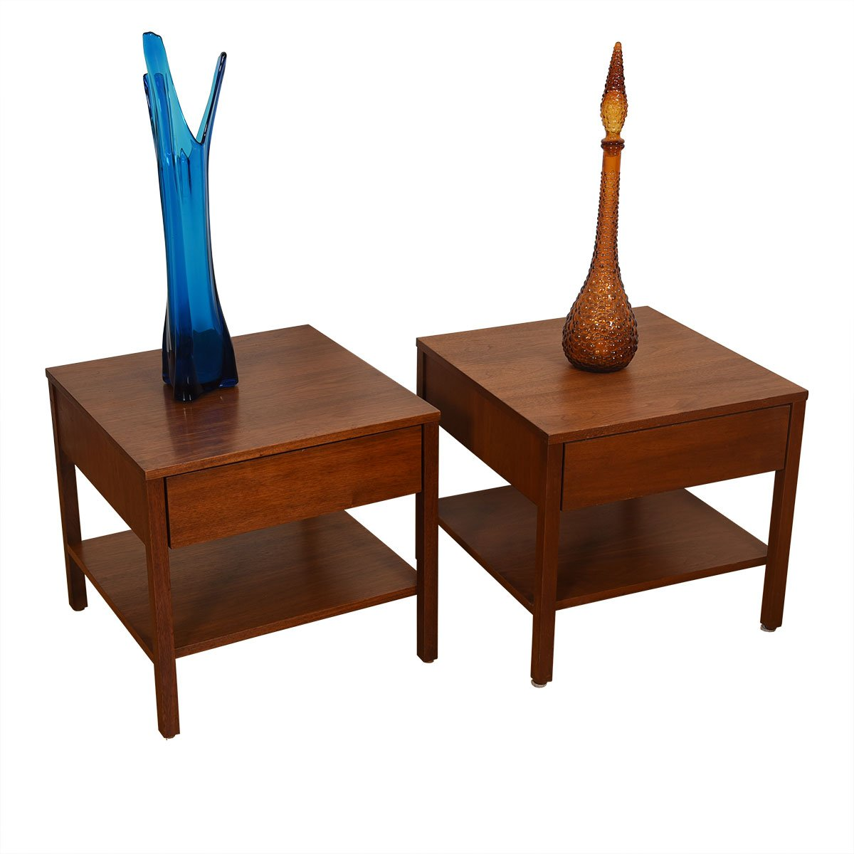 Knoll Pair of Walnut Nightstands w/ Rare Kleenex Holder