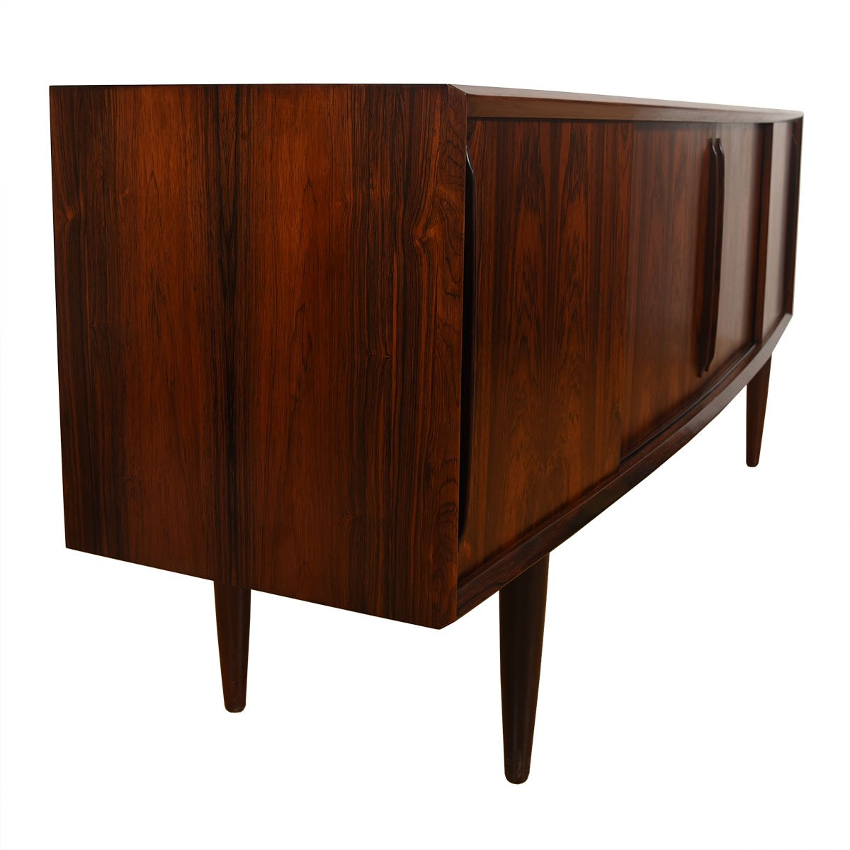 Bowed Front Danish Rosewood Sliding Door Sideboard / Credenza