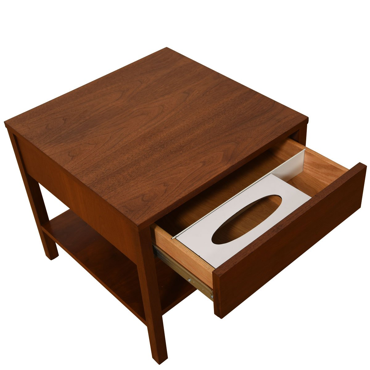 Knoll Pair of Walnut Nightstands w/ Rare Kleenex Holder — A 3rd Single is Also Available!