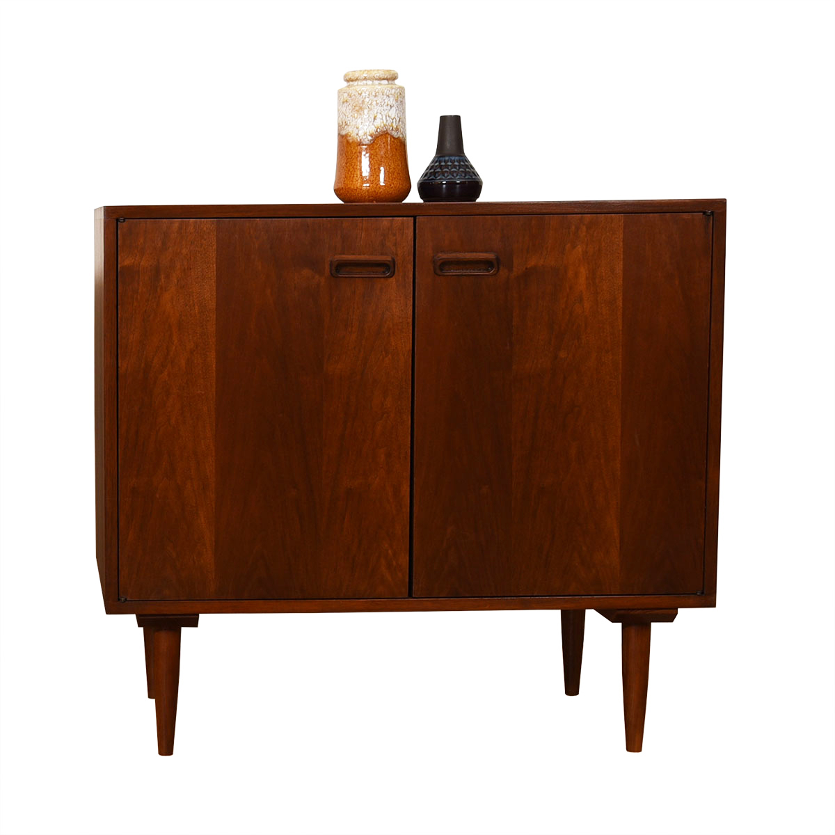 Mid Century Modern Walnut Open Storage Cabinet / Bar