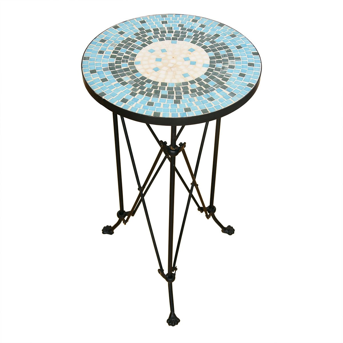 Wrought Iron Mid Century Mosaic Tile Top Accent Table