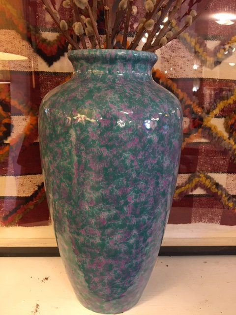 Tall Mottled Teal and Pink Pottery Vase