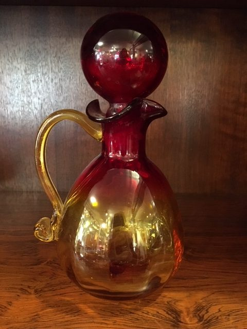 Vintage Blenko Pitcher with Large Round Stopper, Red & Gold