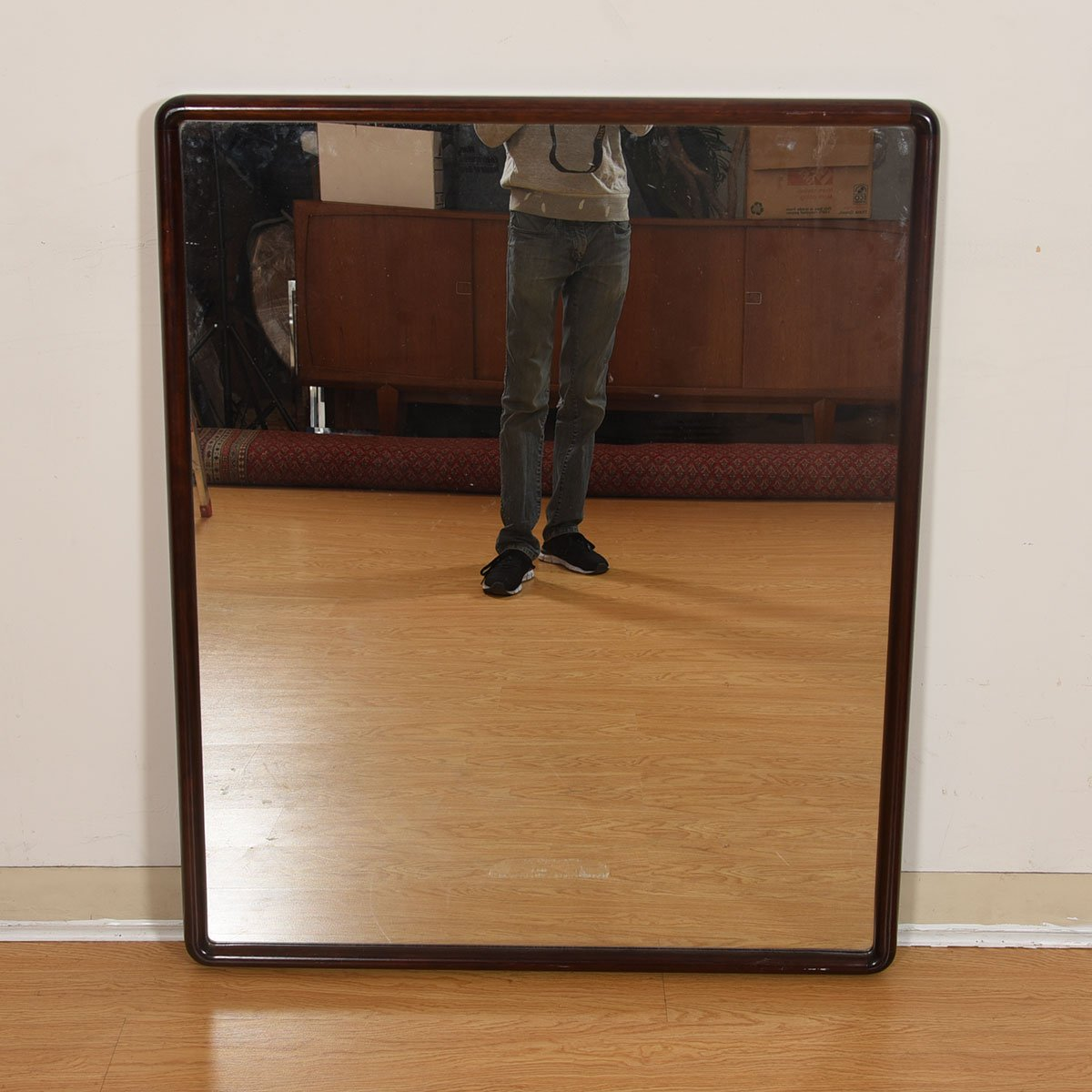 Large Danish Modern Rosewood Mirror w/ Rounded Corners
