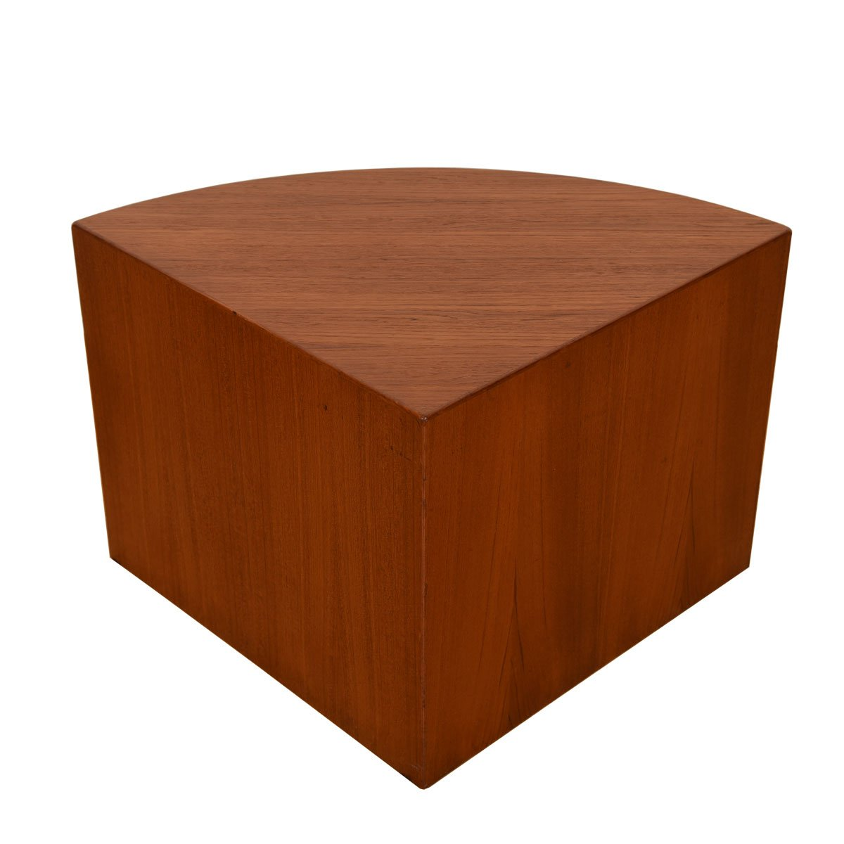 Danish Modern Teak Quarter Round Corner Table.