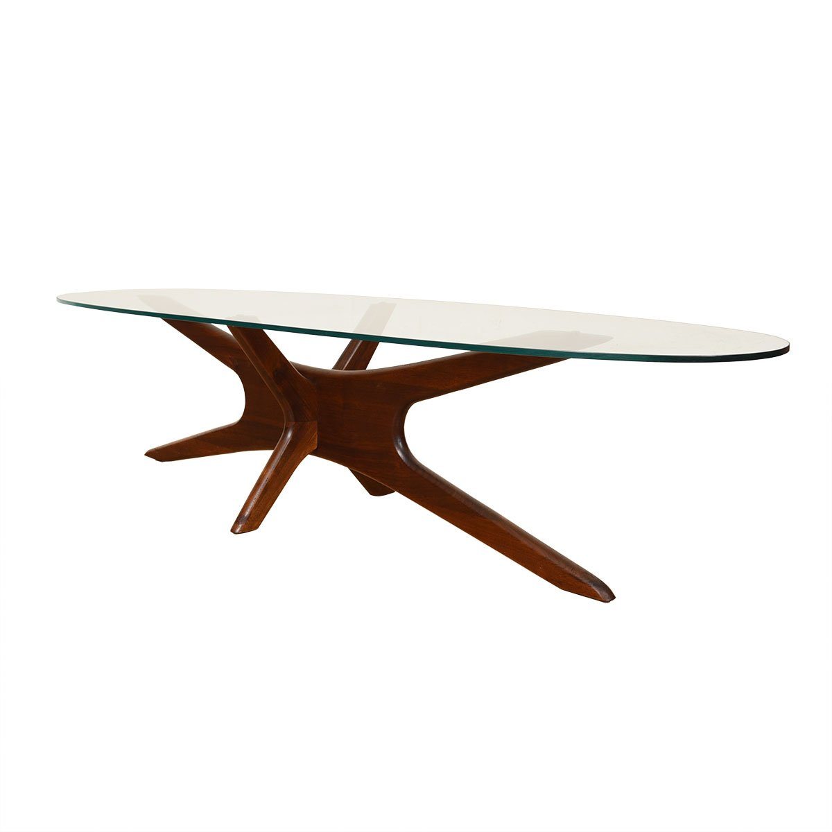 Adrian Pearsall Walnut Coffee Table w/ Oval Glass Top.