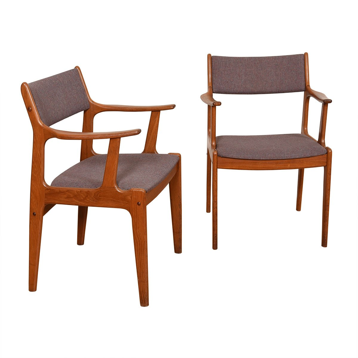 Pair of Danish Modern Teak Dining / Accent Arm Chairs