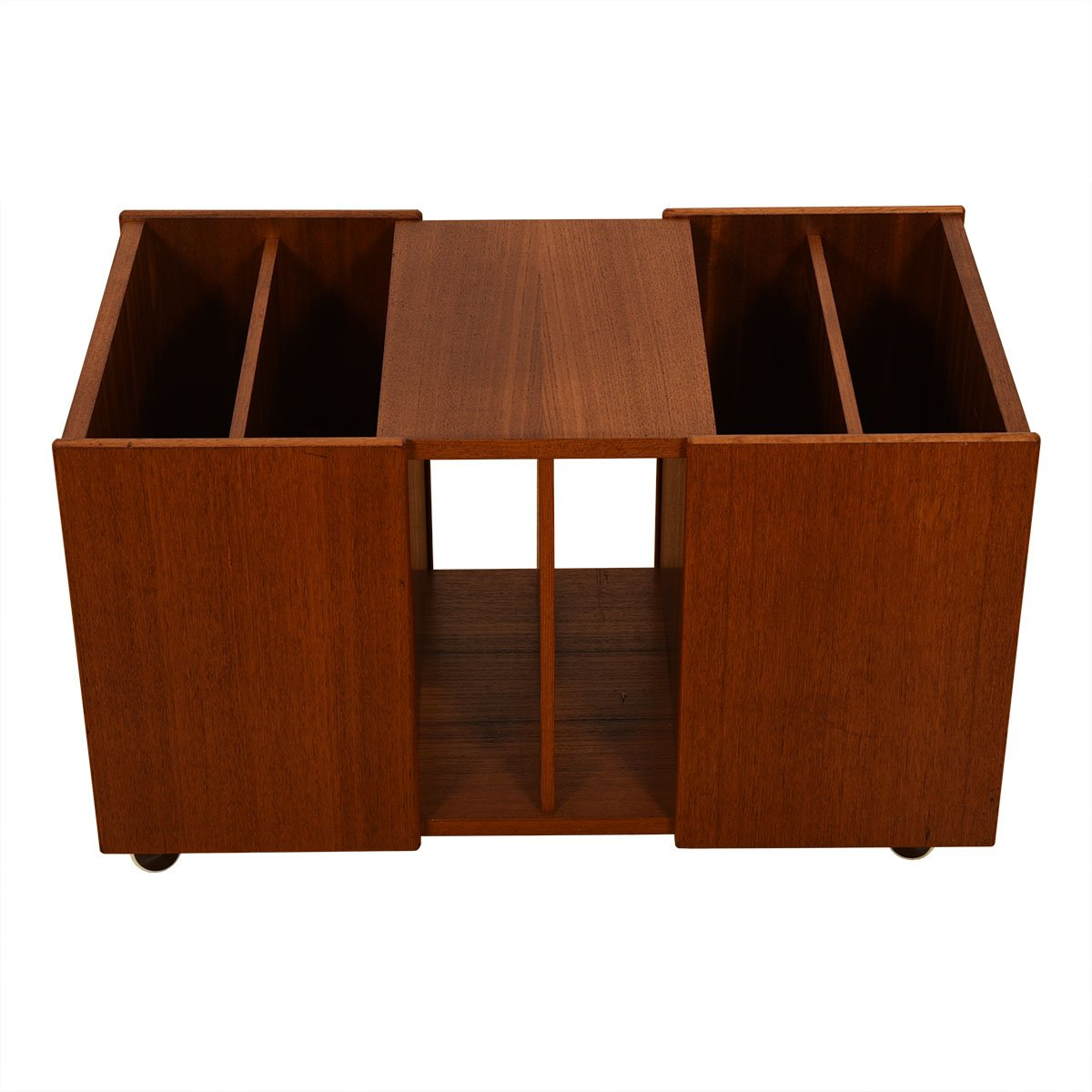 Long Danish Teak Rolling Slotted Magazine Cart / End Table.