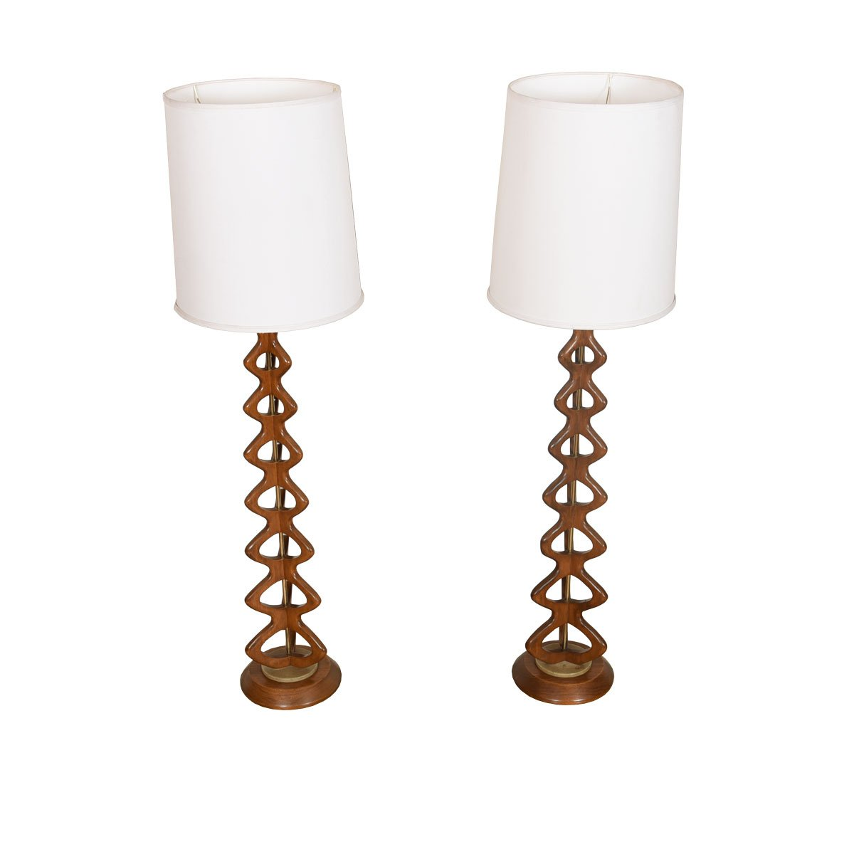 Pair Walnut + Brass Double-Helix Table Lamps w/ Marble Base