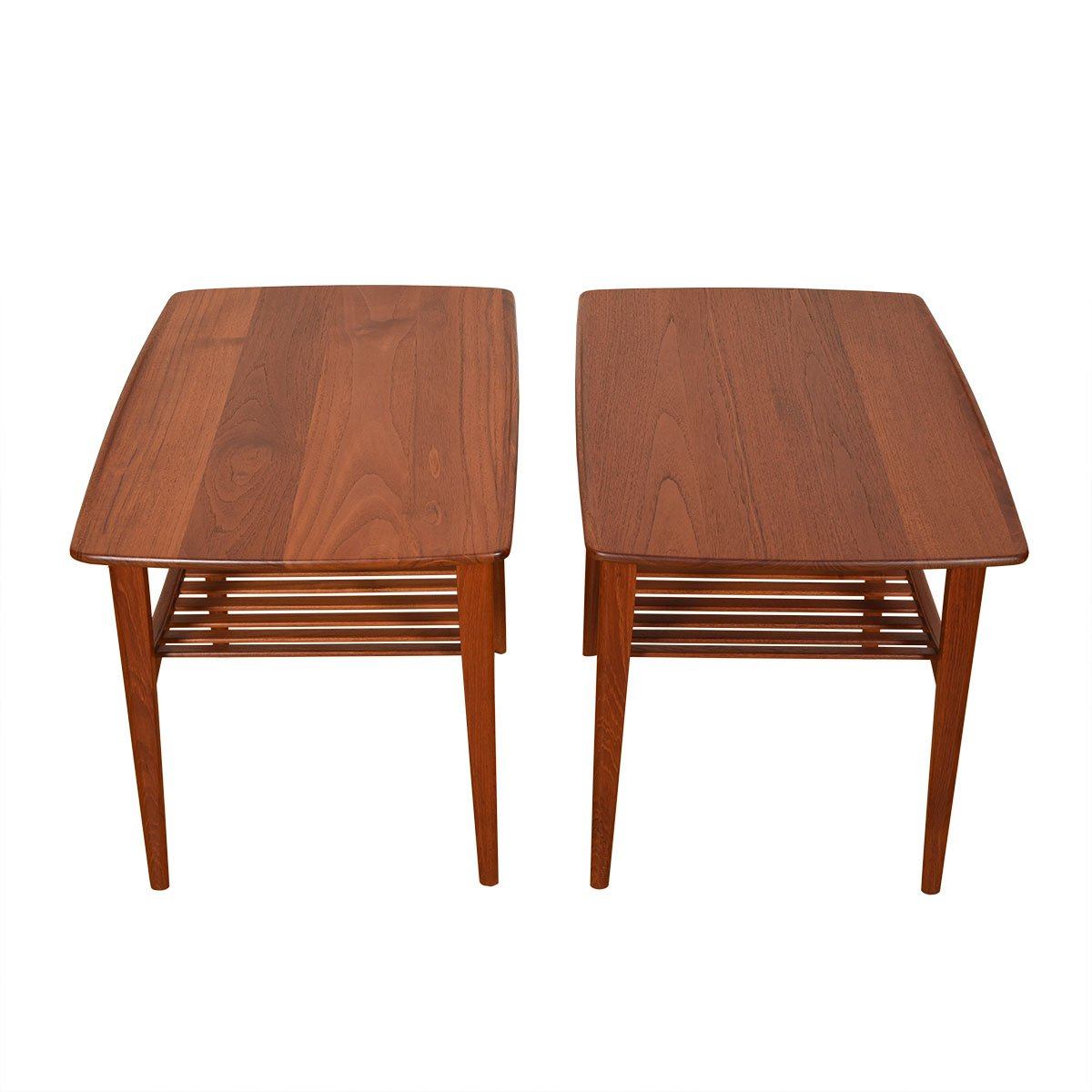 Pair Solid-Teak End Tables w/ Slatted Shelves.