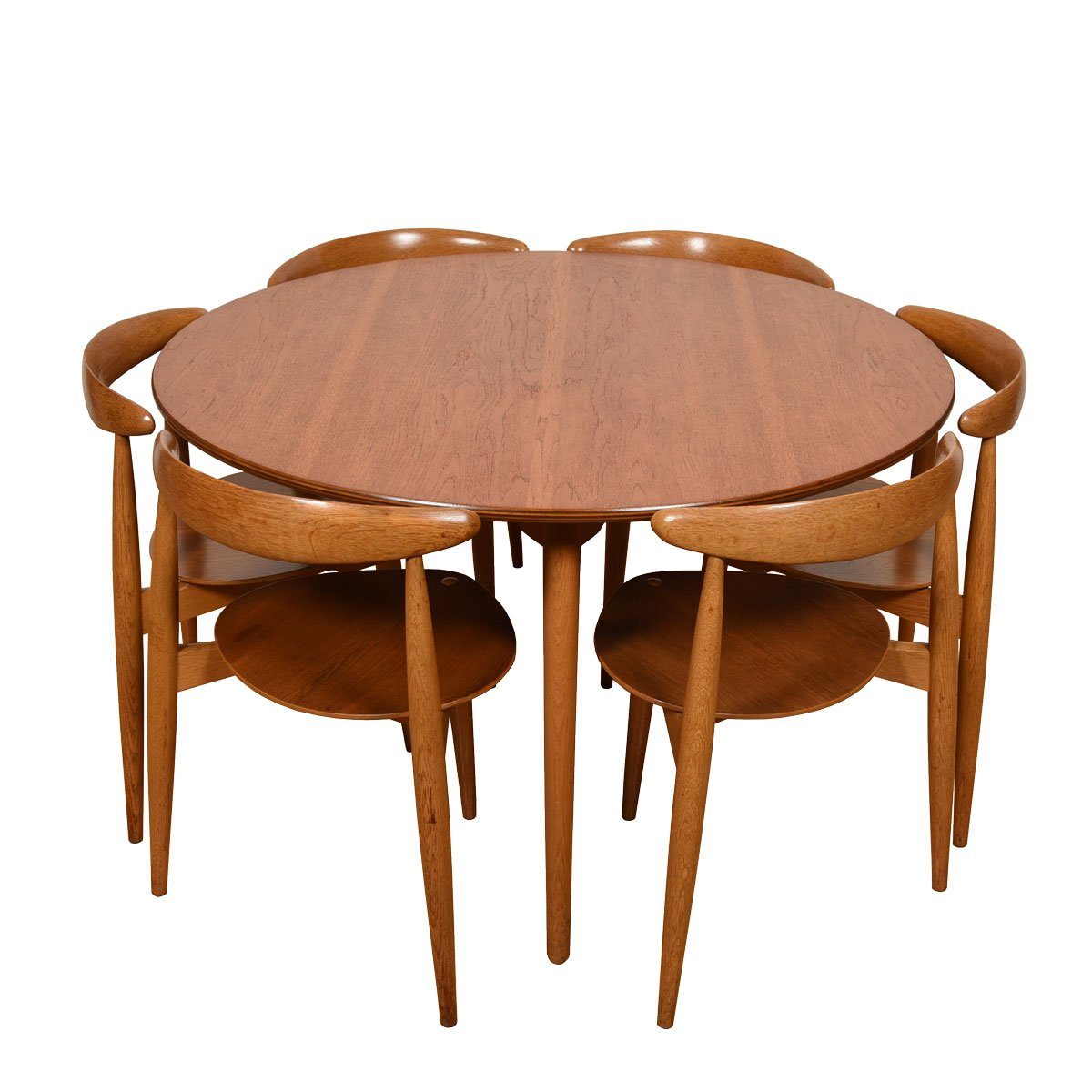 "Hans Wegner 3-Legged Set of 6  ""Heart"" Chairs & Matching Table for Fritz Hansen"