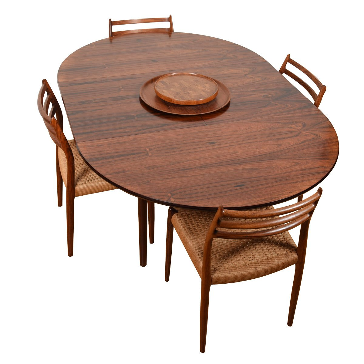 Early Danish Rosewood 47″ Round-to-Oval Dining Table w/ Butterfly Leaves.