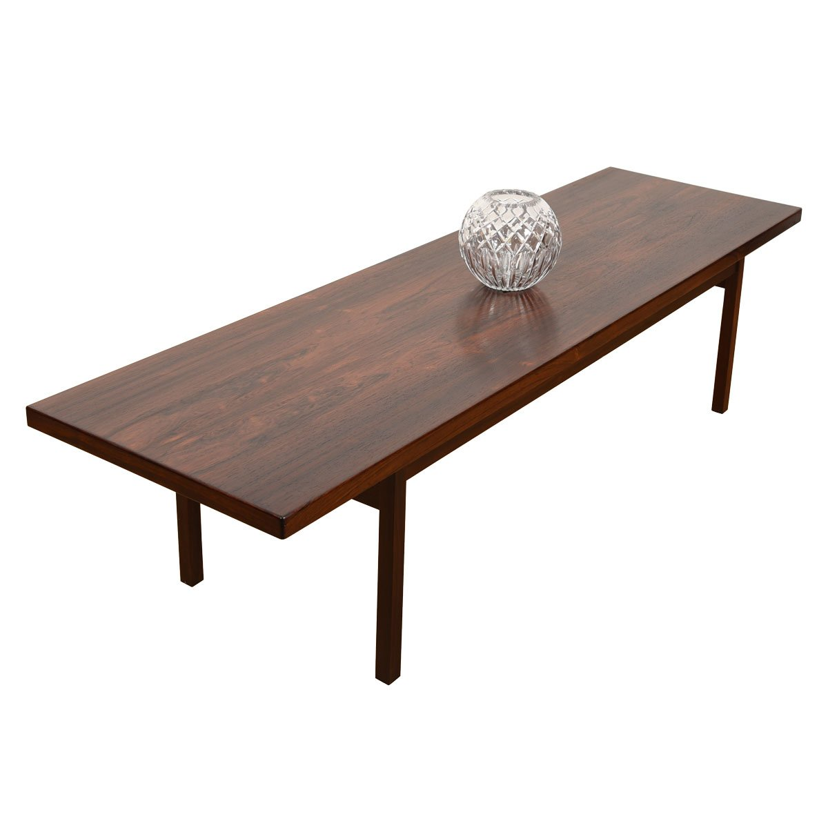 Long Danish Modern Rosewood Coffee Table.