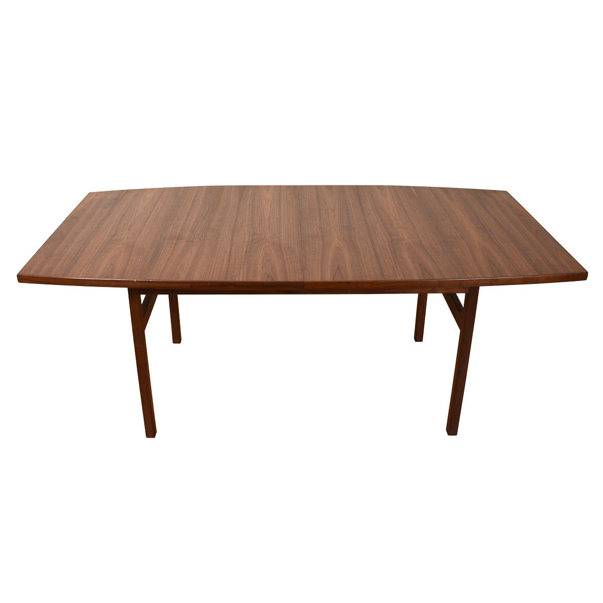 MCM Walnut Colossal Expanding Bowed Shaped Dining Table.