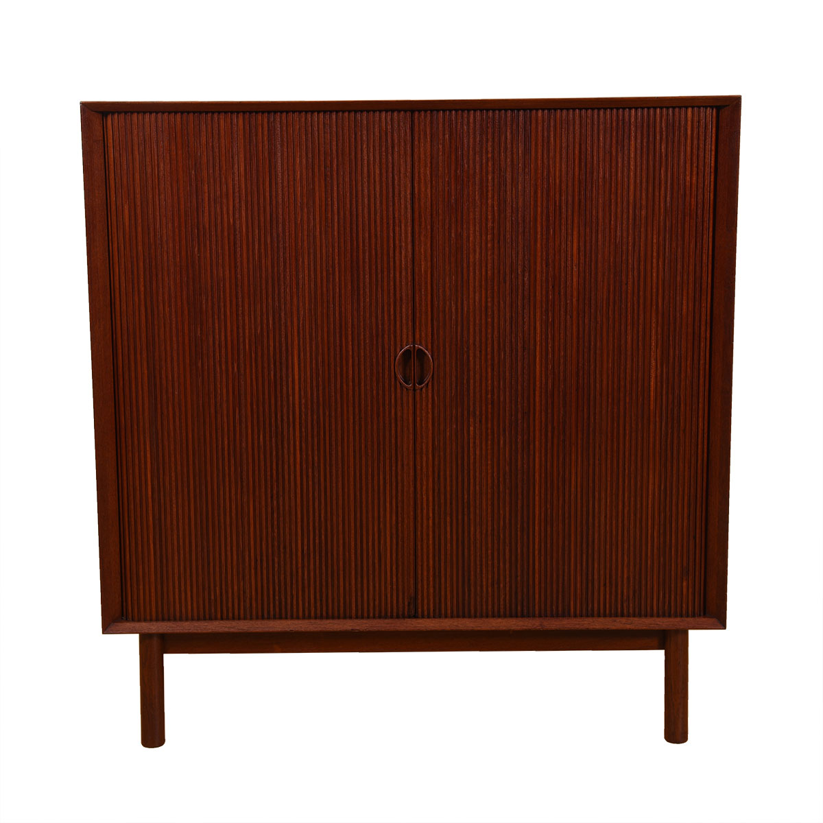 Solid Teak Tambour Door Cabinet by Peter Hvidt for Søborg Møbler