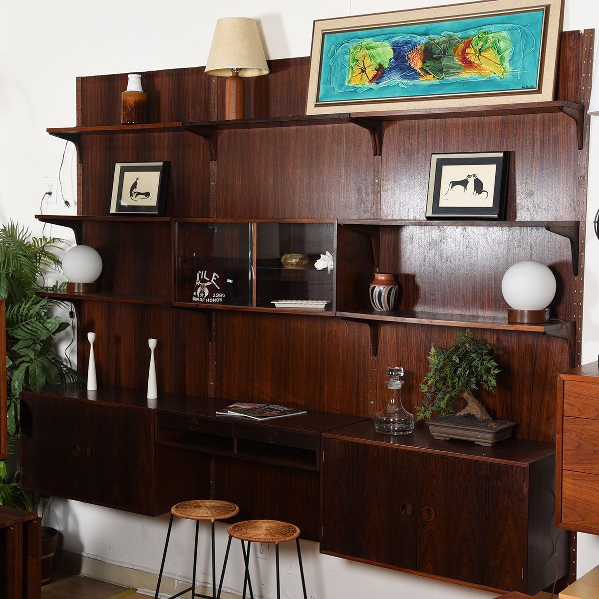 Danish Modern Rosewood Adjustable 3-Column Wall Unit w/ Paneling.