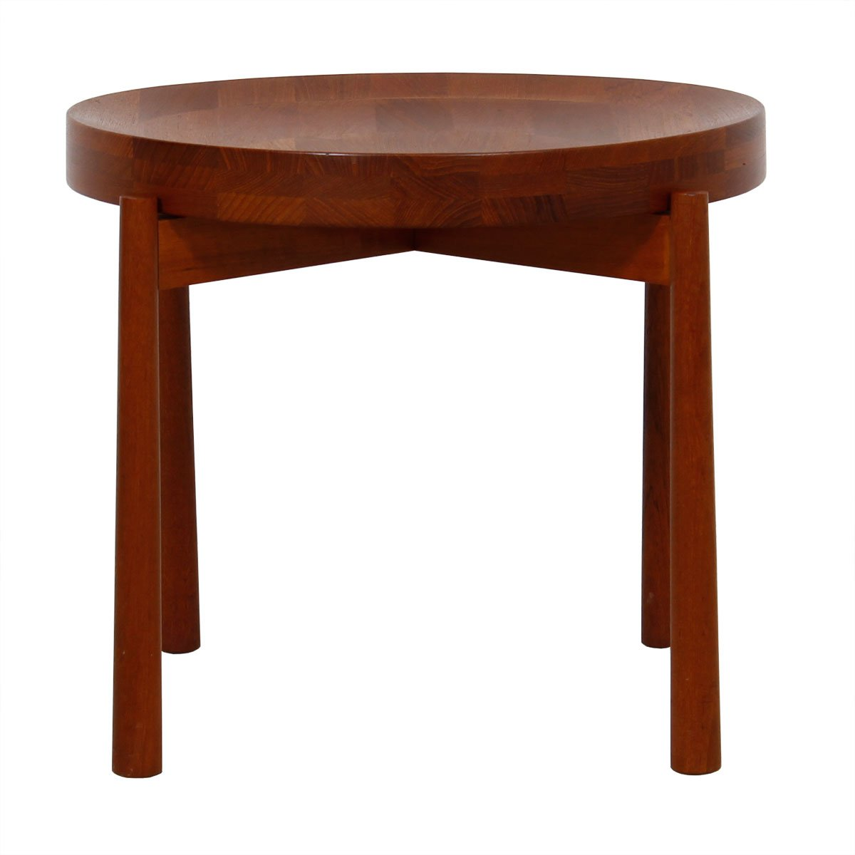 Jens Quistgaard Solid Teak Round Flip-Top Accent Table