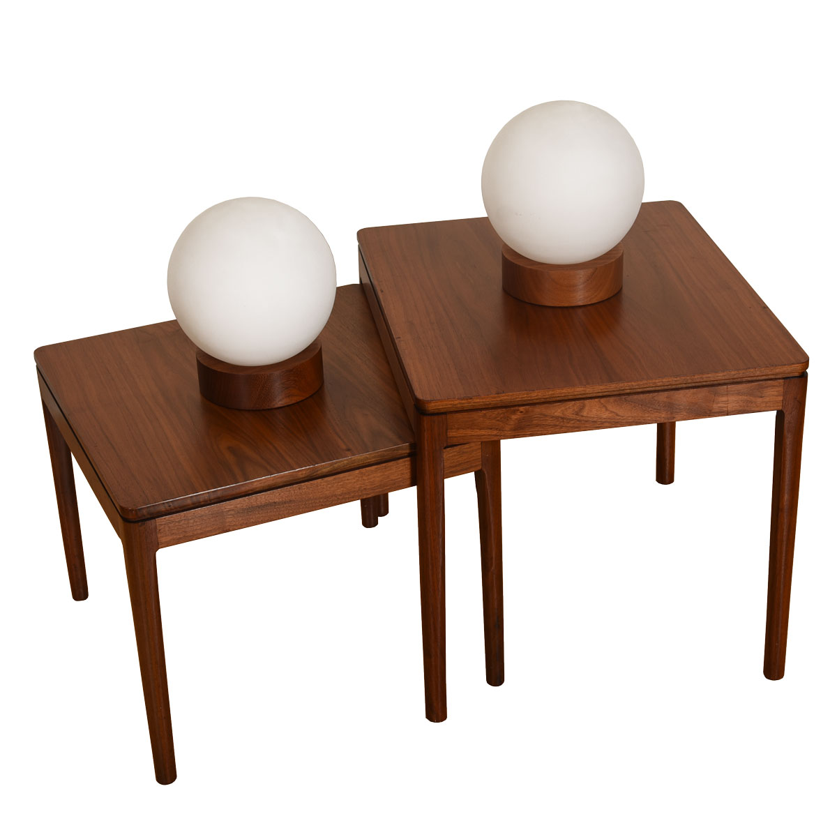 Pair of White Globe Table Lamps with Teak Base