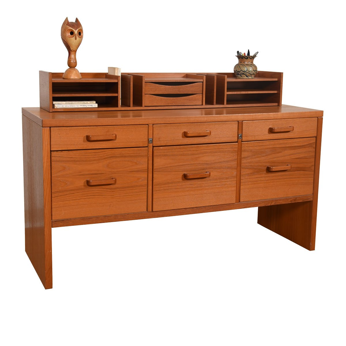 Danish Modern Teak 6 Drawer Locking 'File Dresser' / Room Divider