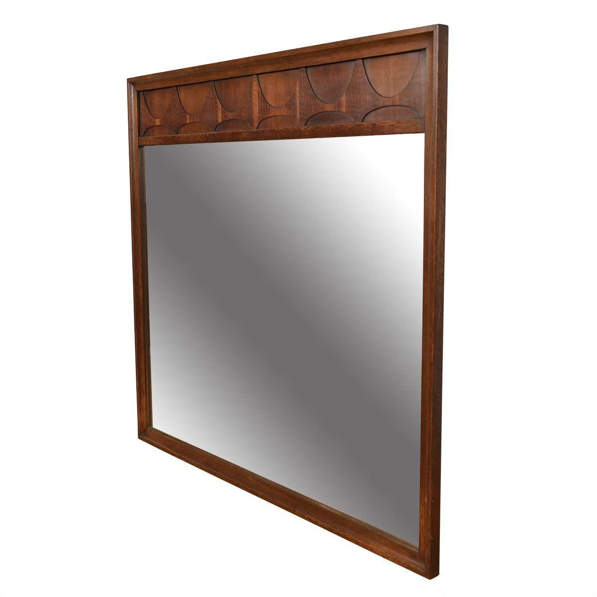 Large Broyhill Brasilia Mirror with Narrow Band of Swoops at the Top