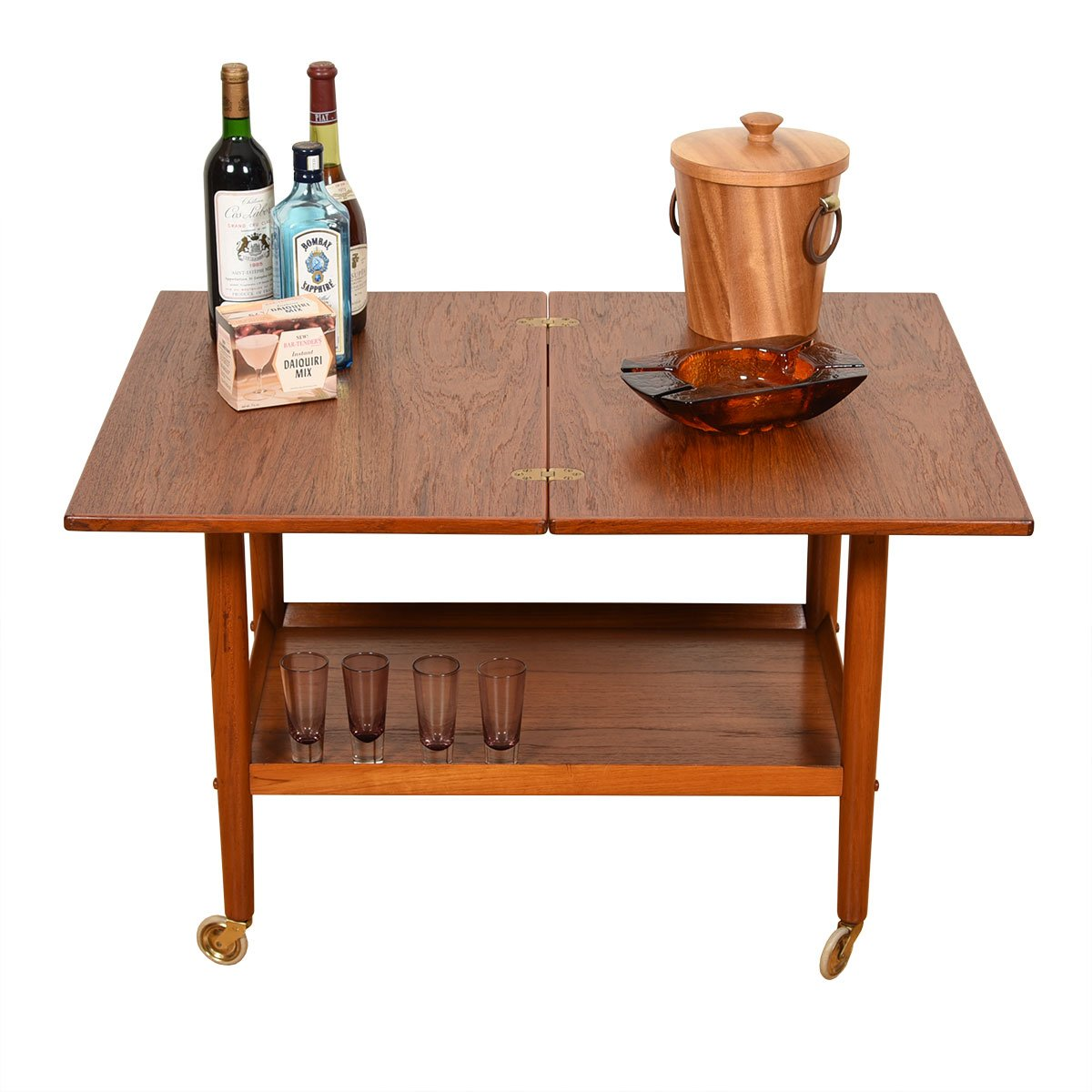 'Flip & Sip' Expanding Danish Modern Teak Bar Cart / Serving Table