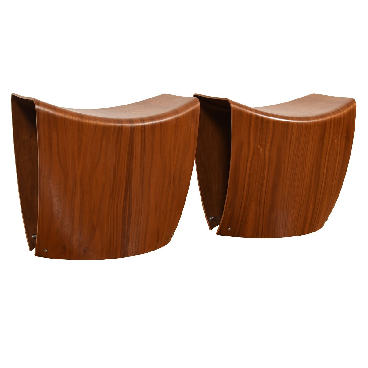 Pair of Walnut Danish Modern Contemporary Stools / Ottomans