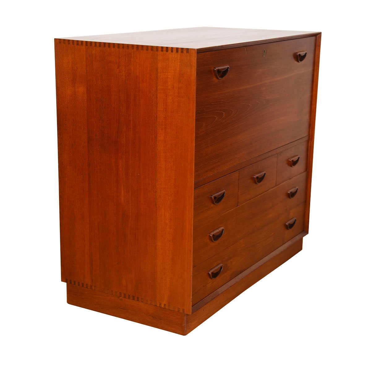 Peter Hvidt Solid-Teak Danish Drop-Down Storage / Bar Cabinet.