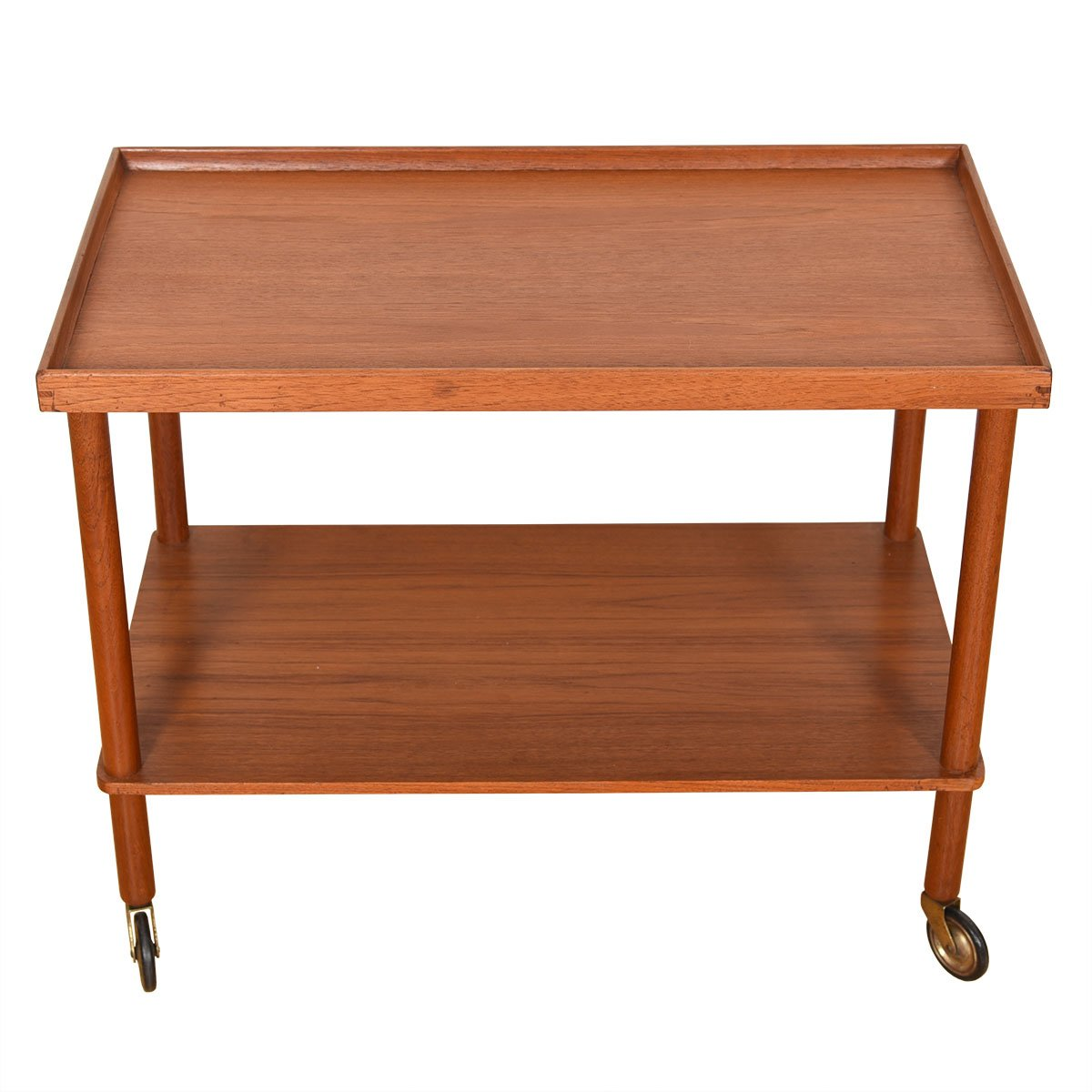 Danish Modern Teak Serving / Bar Cart w/ Lower Shelf.