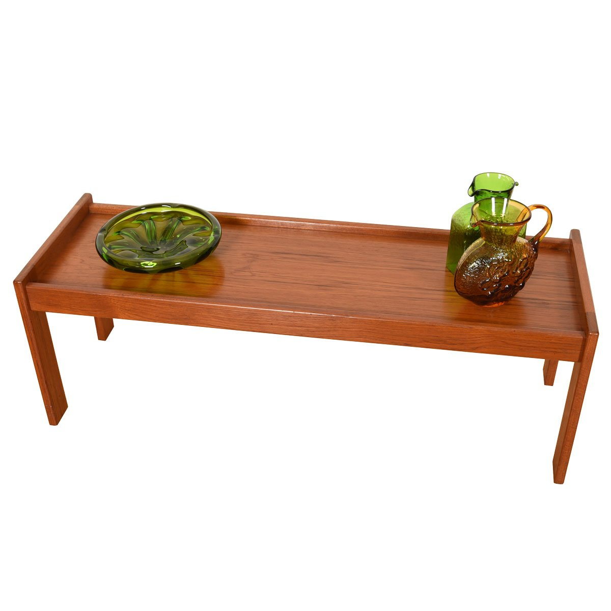 Danish Teak Petite Raised Edge Low Coffee Table / Bench