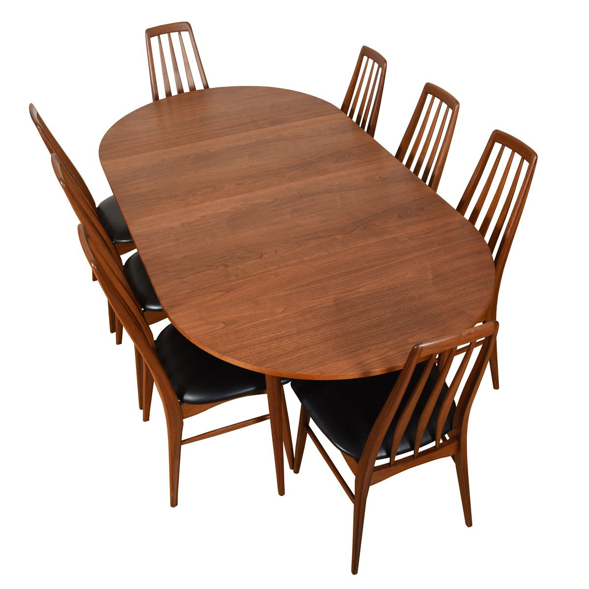 Brown Saltman Petite 42″ Round-to-Oval Walnut Dining Table w/ 2 Leaves.
