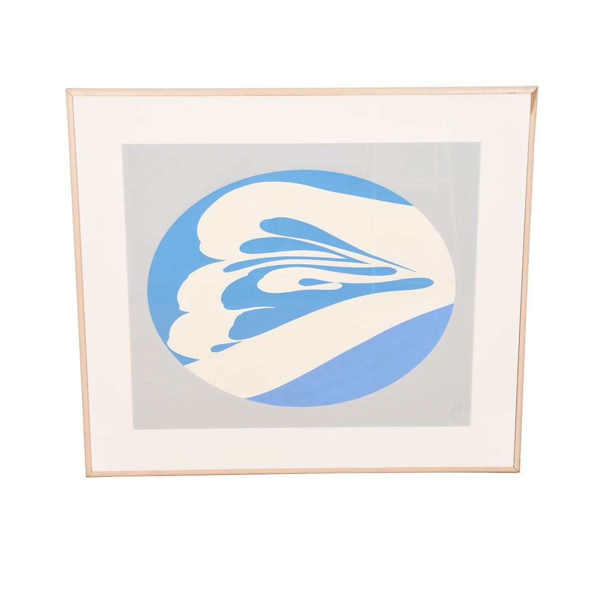 Jack Youngerman Large Blue & White Lithograph / Silkscreen 1976