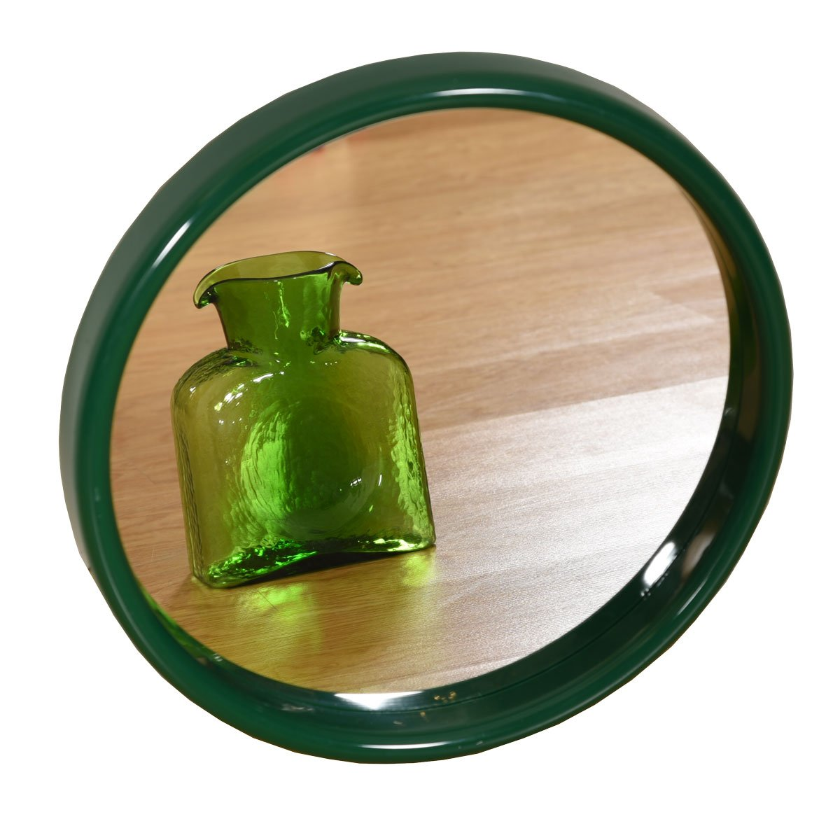 Vintage Round Mirror with Green Acrylic Frame