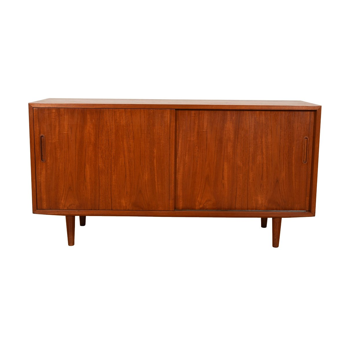 Danish Modern Teak Sliding Door Media Cabinet / Credenza.