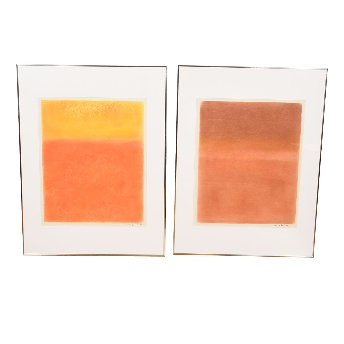 Pair of Orange Rothko-Style 'Color Field' Artwork by Alexis De Boeck, 1978