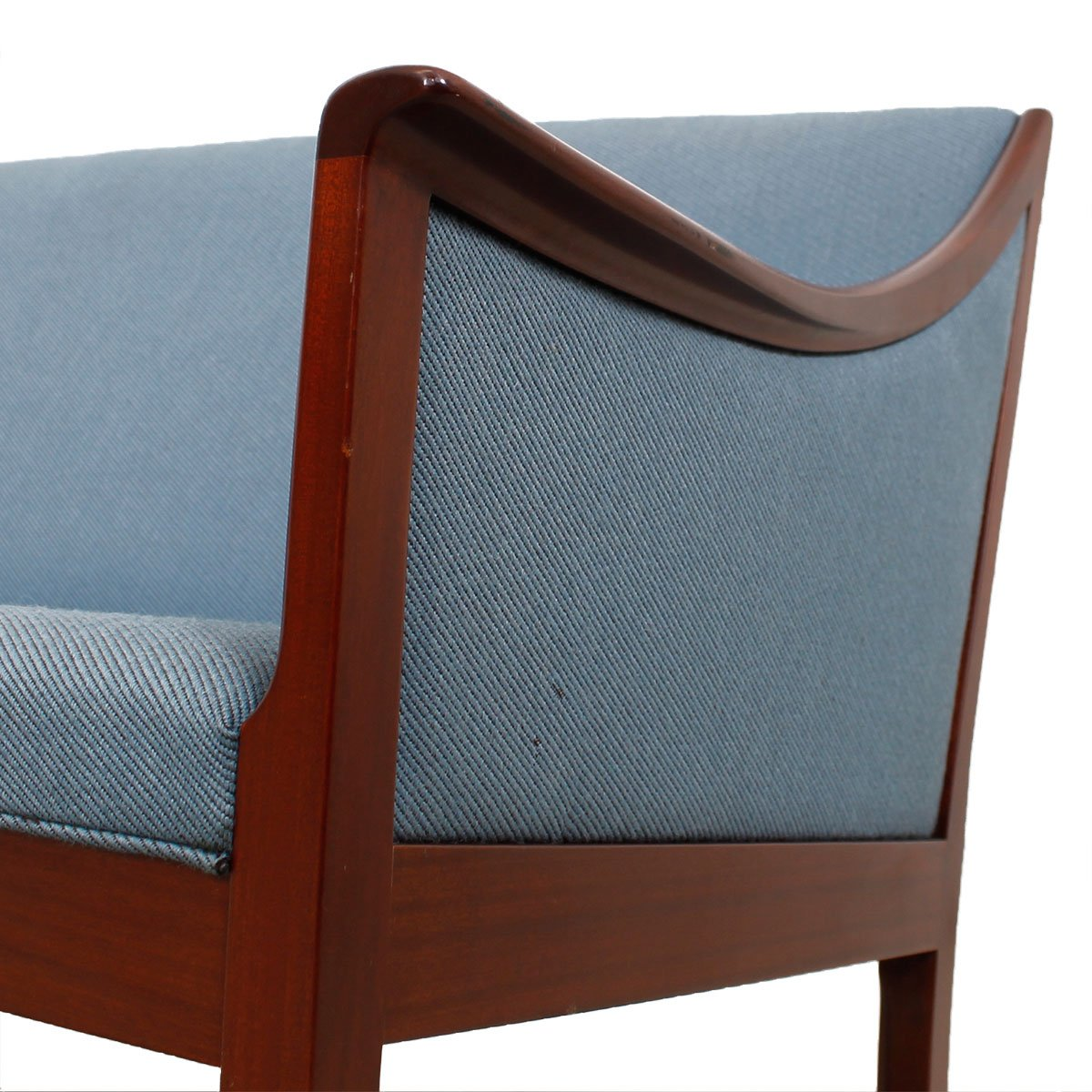 Danish Modern Rosewood Sofa & Pair of Chairs w. Blue Upholstery by Ole Wanscher