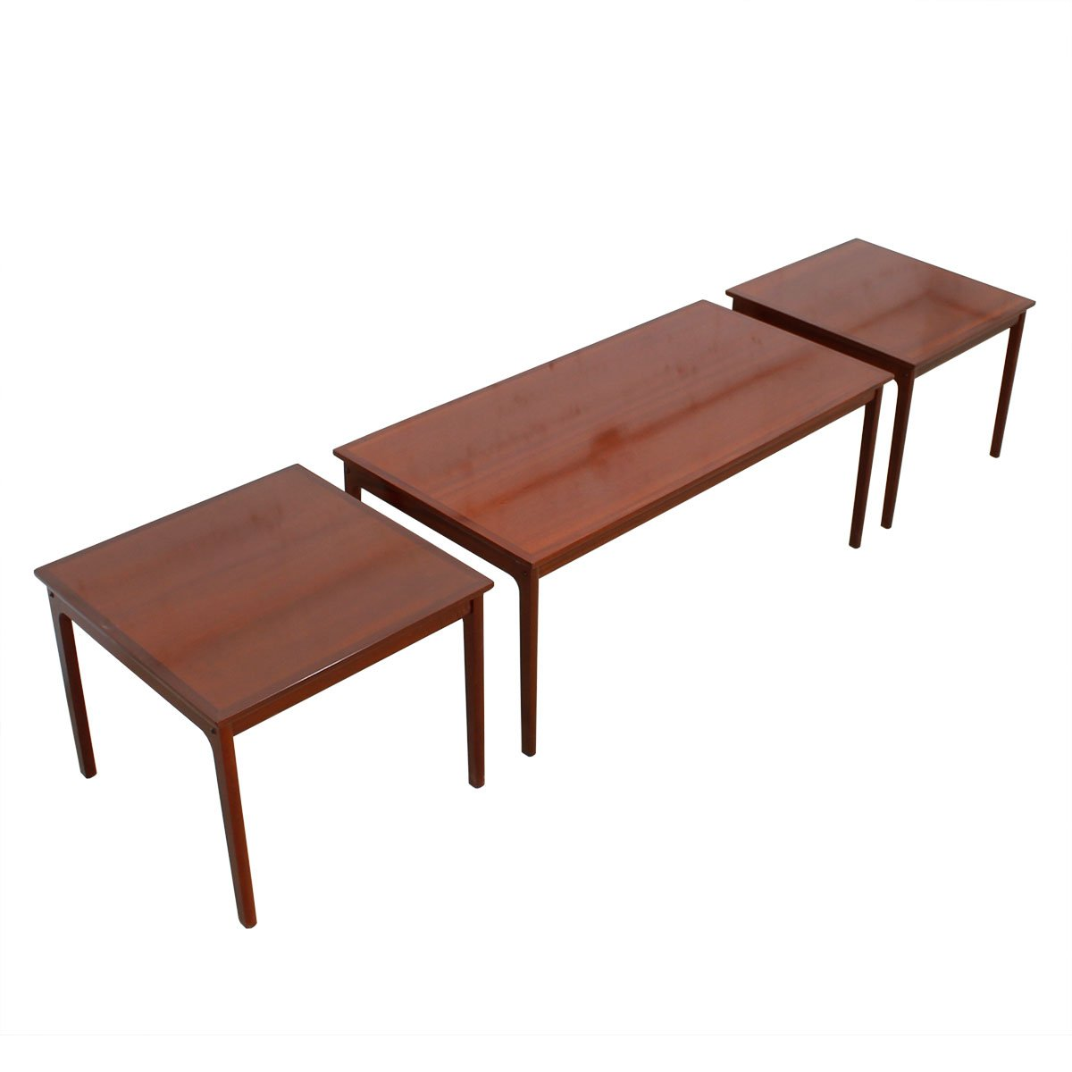 Danish Modern Rosewood Coffee Table & Pair of End Tables by Ole Wanscher