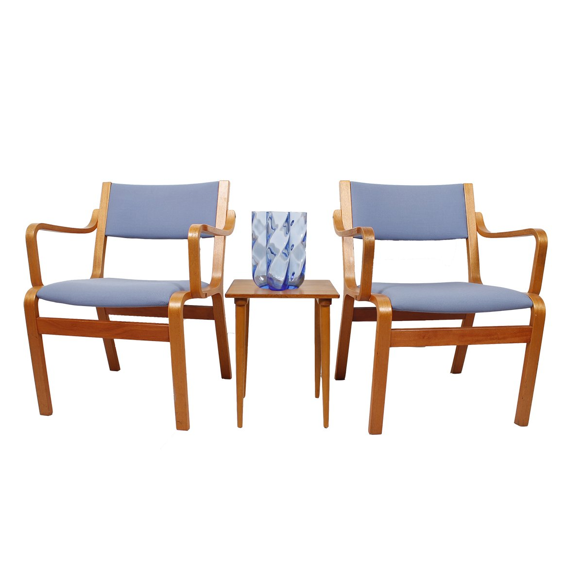 Pair of Bentwood Arm Chairs with Blue Upholstery (from Danish Embassy)