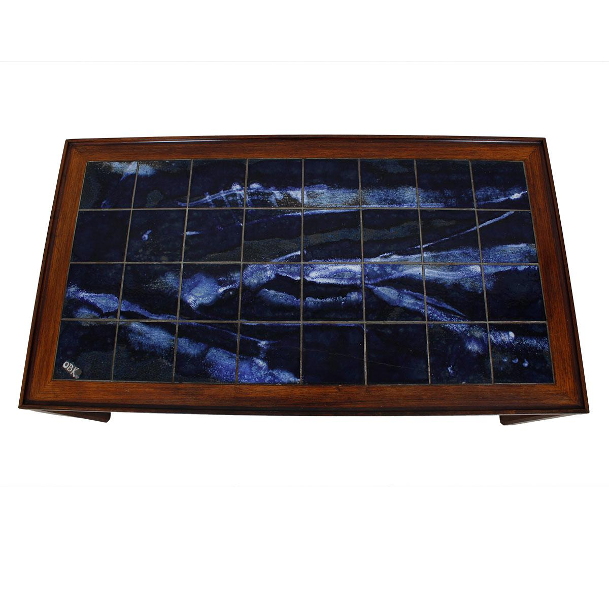 Large Danish Modern Coffee Table in Rosewood with White & Blue Tile Top.