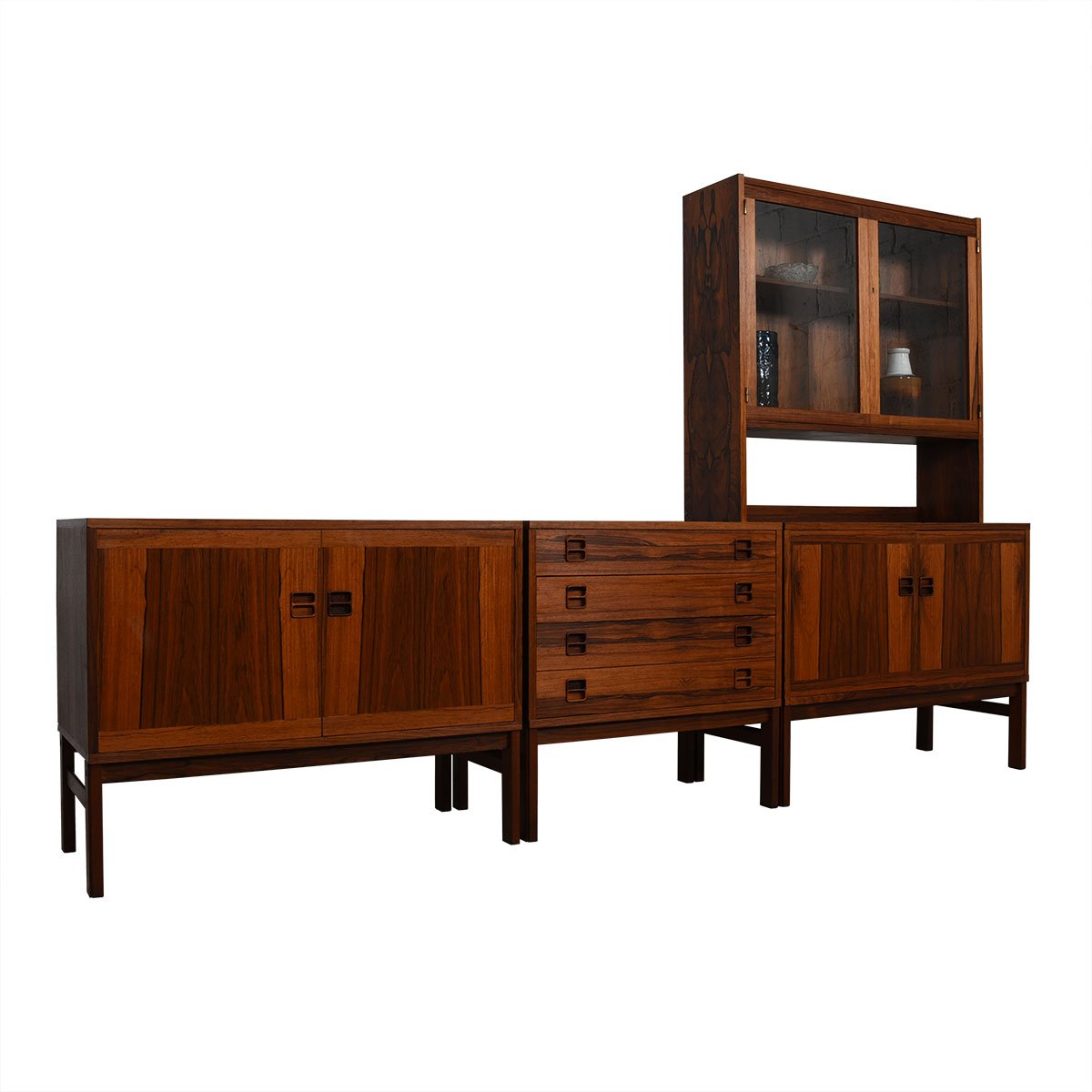 Danish Modern Rosewood Room Divider / Modular Wall Unit Storage