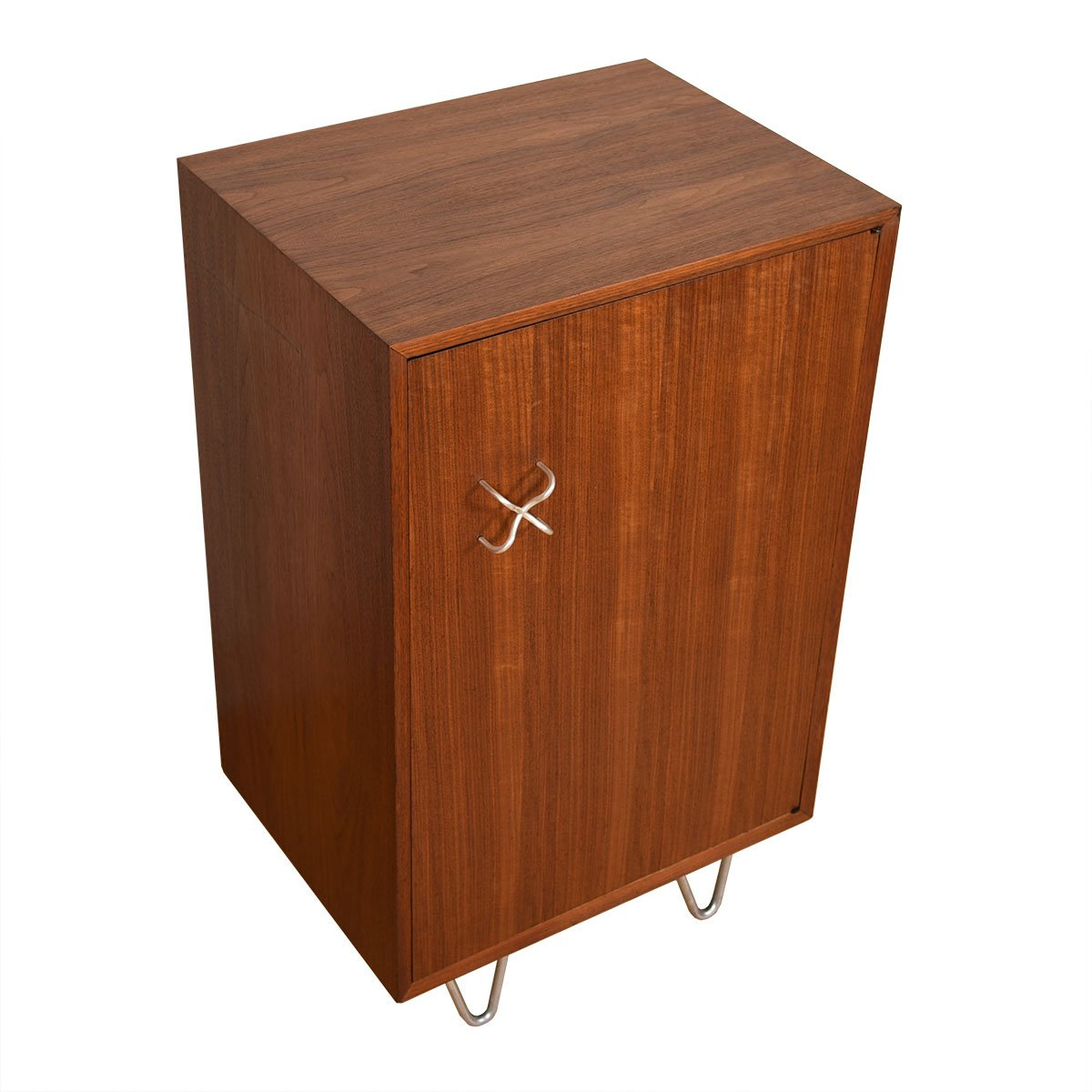 Herman Miller Walnut Bar / Storage Cabinet with Hairpin Legs.
