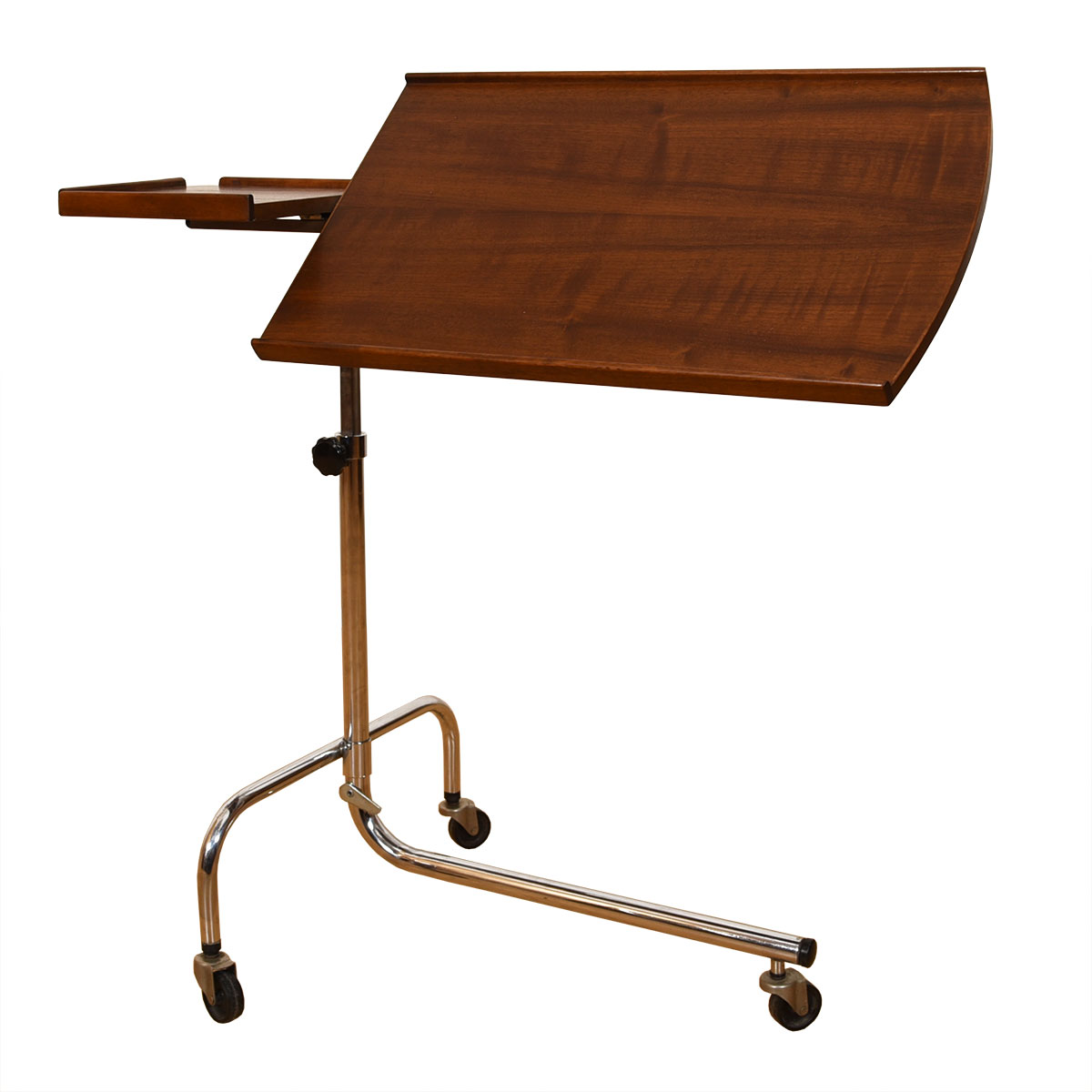 Rolling Danish Modern Walnut Adjustable Music / TV Tray Stand – Also Avail in Rosewood