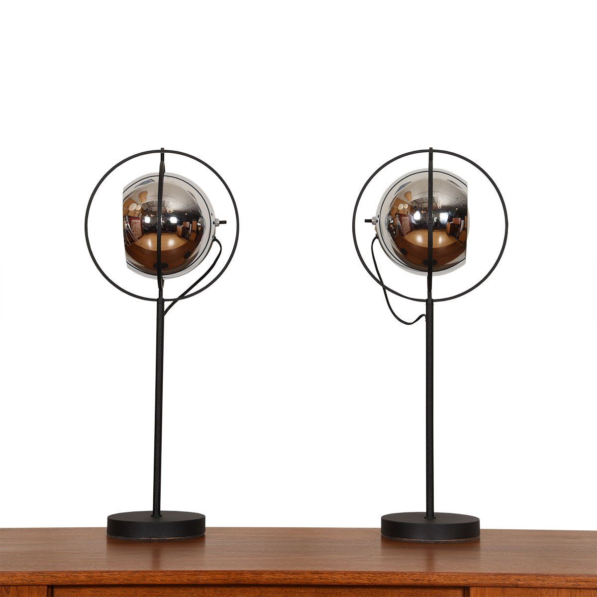Sonneman Pair of Mid Century Chrome + Wrought Iron 'Eyeball' Adjustable Table Lamps