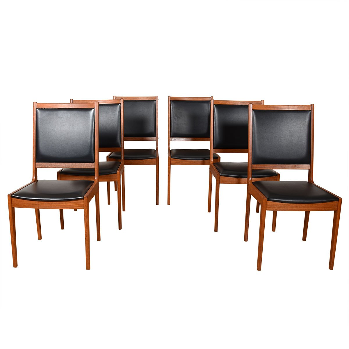 Set of 6 Danish Teak Upholstered Back Dining Chairs