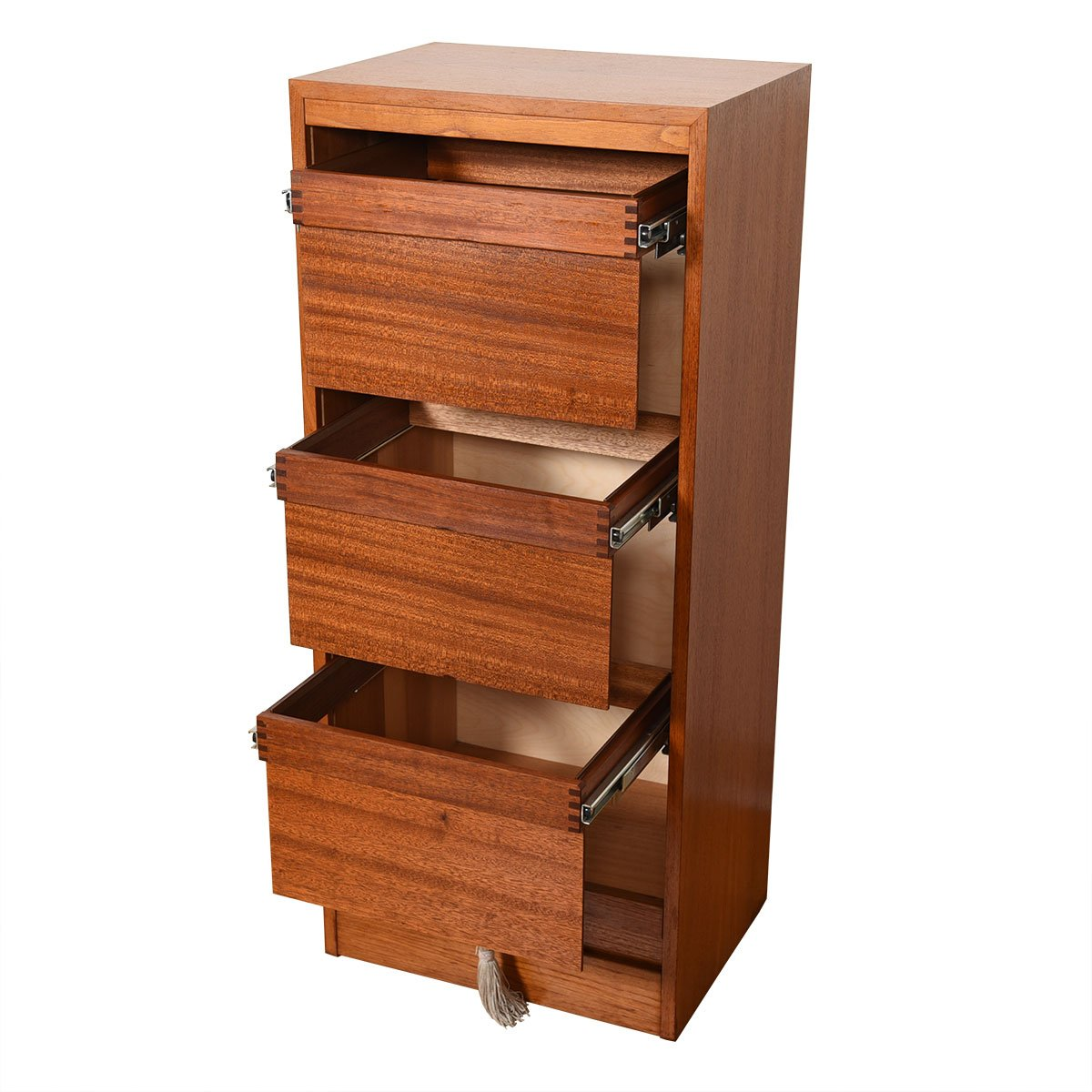 Tall Danish Teak Locking Tambour Door Filing Cabinet