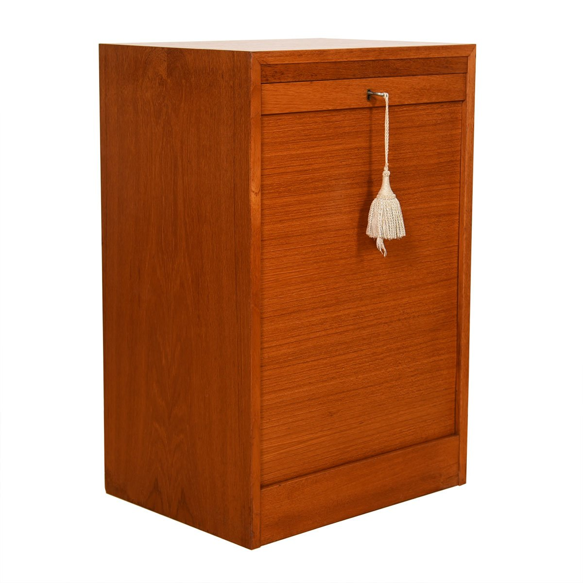 Petite Danish Teak Locking Tambour Door Filing Cabinet