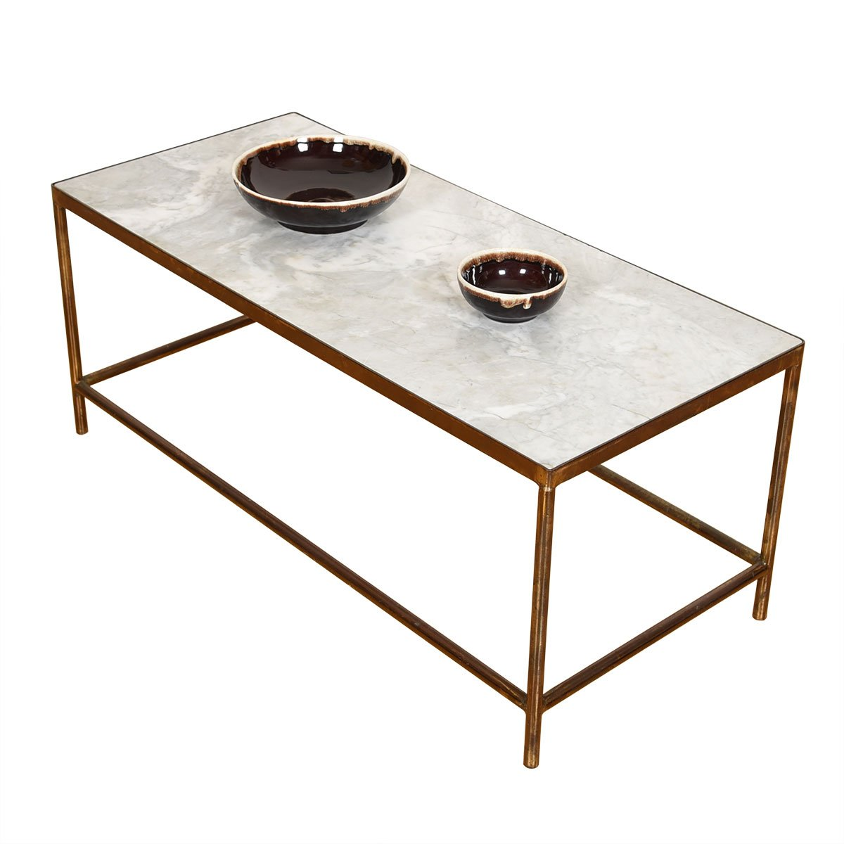 Mid Century American Modernist Brass Coffee Table w/ Marble Inset Top