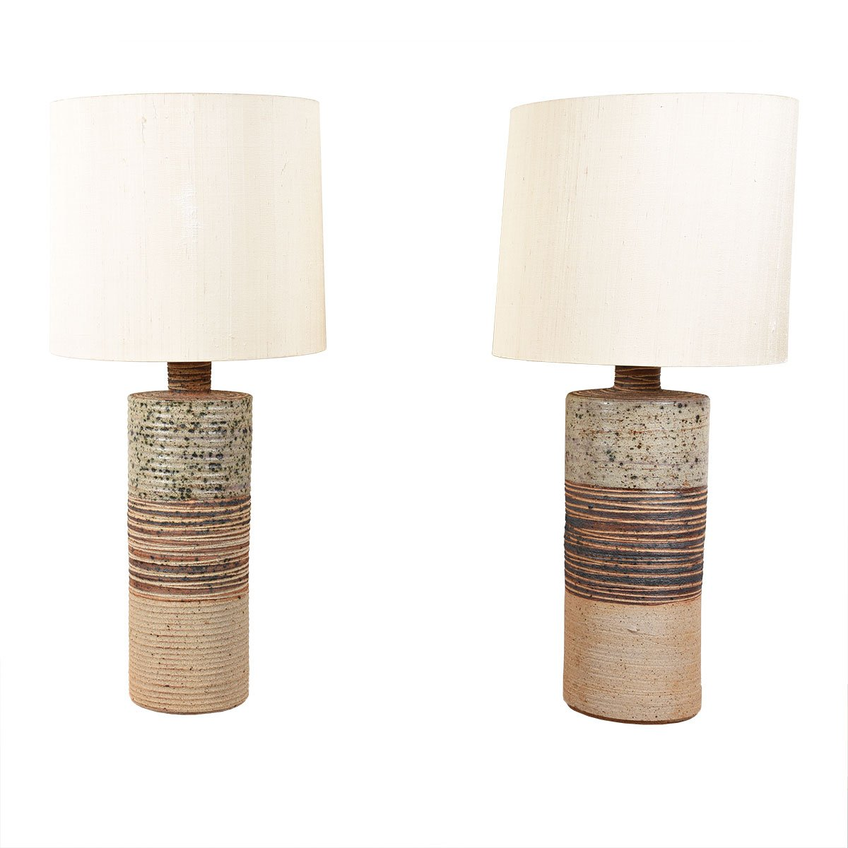 Tue Poulsen Pair of Danish Mid Century Pottery Table Lamps