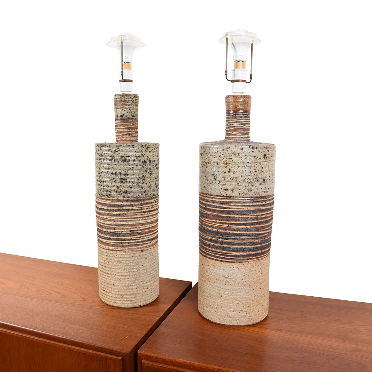 Tue Poulsen Pair of Danish Mid Century Ceramic Pottery Table Lamps