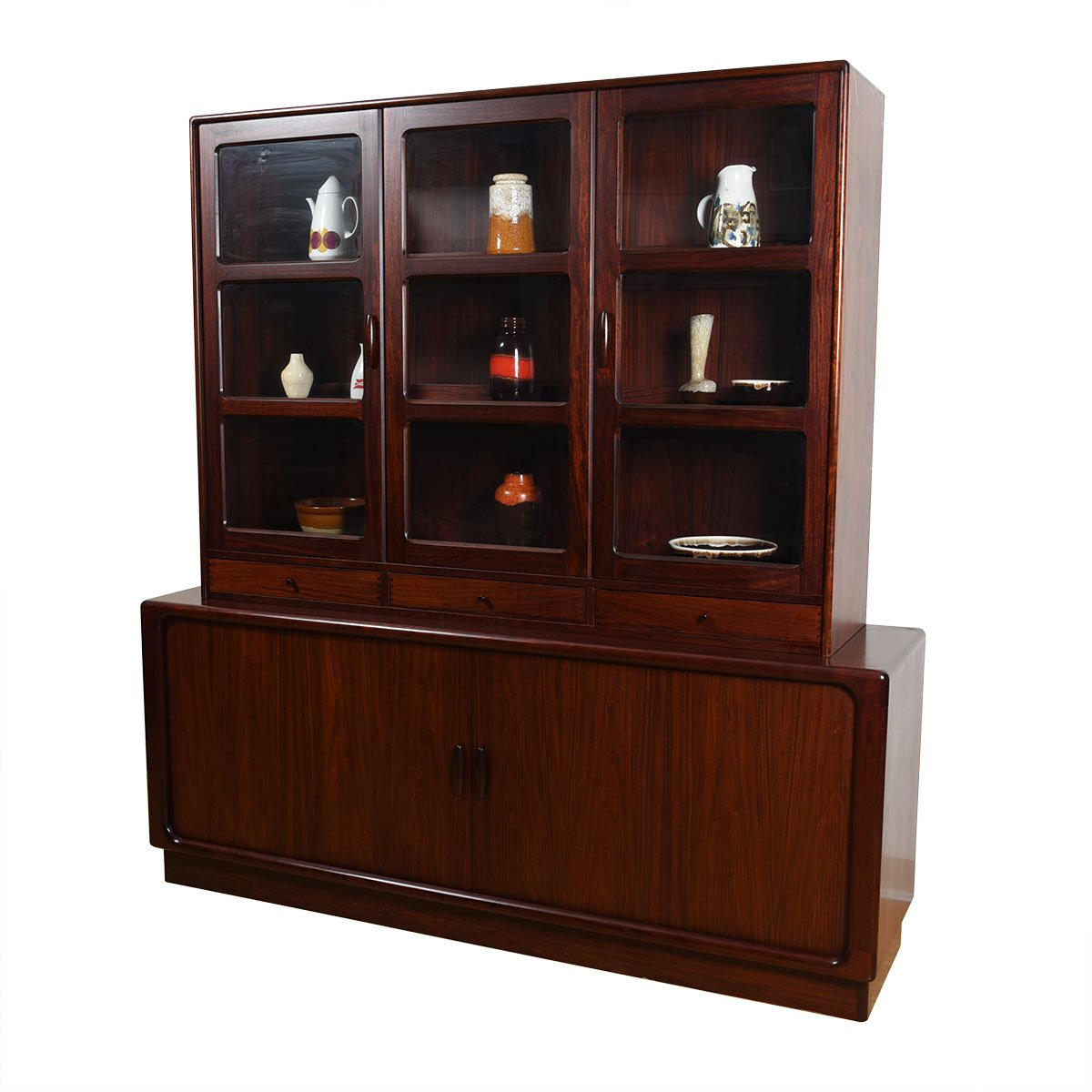 2-Piece Danish Rosewood Display / Tambour Door Storage Credenza